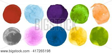 Brush Watercolor Circles Collection. Art Hand Paint Dot Illustration. Abstract Template With Blot On