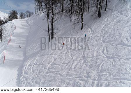 March 22, 2021 , Alpika Ski Resort,sochi, Russia : Extreme Snowboarding In The Mountain Ski Resort O