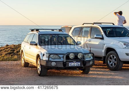Exmouth, Western Australia - July 7, 2018: Subaru Legacy Outback With A Bullbar For Front Protection