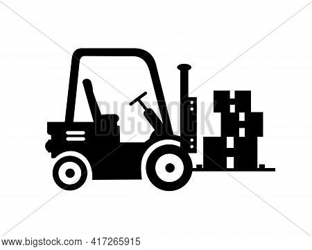 Forklift Icon. Black And White Icon. Forklift, Pallet With Folded Boxes, Cargo. Cargo Delivery, Deli