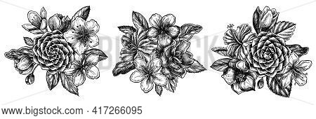 Flower Bouquet Of Black And White Hibiscus, Plum Flowers, Peach Flowers, Sakura Flowers, Magnolia Fl