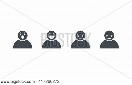 Set Icon People With Facial Expressions Surprised Laugh Sad Angry. Vector Illustration.
