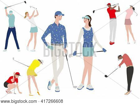 Golfers Vector Flat Illustration Set. Easy To Use Illustrations Isolated On A White Background.