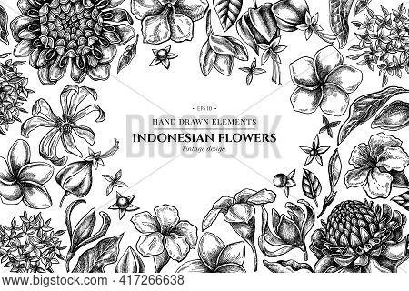 Floral Design With Black And White Plumeria, Allamanda, Clerodendrum, Champak, Etlingera, Ixora Stoc