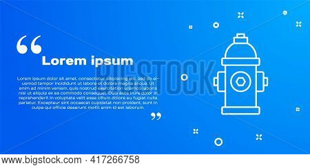 White Line Fire Hydrant Icon Isolated On Blue Background. Vector