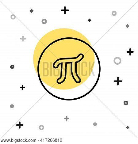 Black Line Pi Symbol Icon Isolated On White Background. Random Dynamic Shapes. Vector