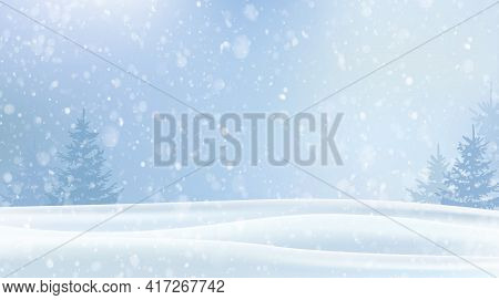 Magic Snowfall In The Forest. New Year And Christmas. Winter Landscape With Snow And Snowflakes. The