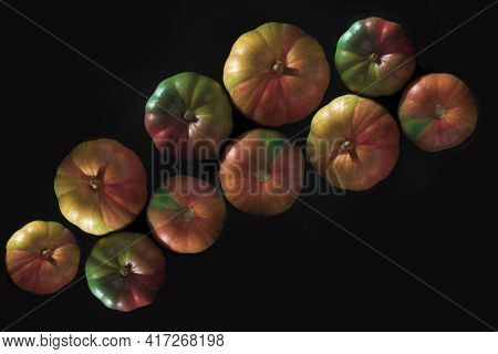 Mysore Pumpkins On Black Background,colorfull Pumpkis A Pumpkin Is A Cultivar Of Winter Squash That