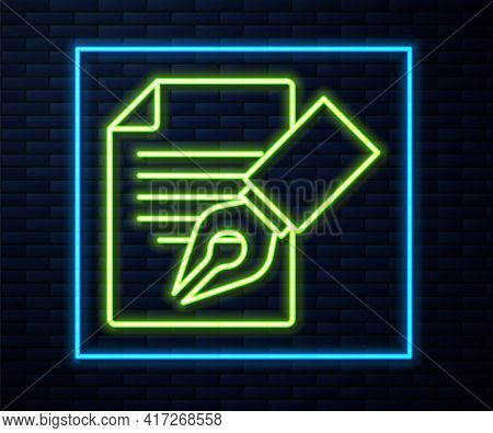 Glowing Neon Line Exam Sheet And Pencil With Eraser Icon Isolated On Brick Wall Background. Test Pap