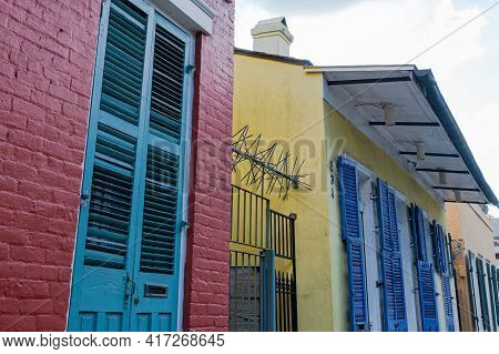 New Orleans, La - August 22: Colorful Homes And Security Spikes In The French Quarter On August 22,