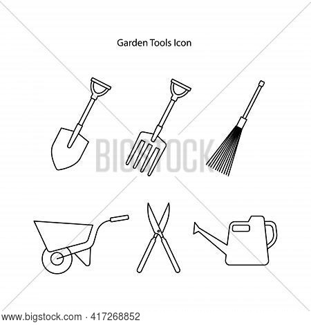 Shovel Icon Set Isolated On White Background From Equipment Collection. Shovel Icon Thin Line Outlin