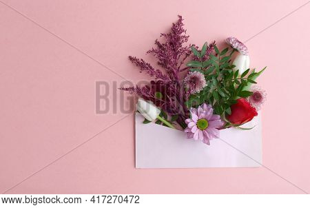 Assorted Gift Flowers Inside An Envelope Close Up