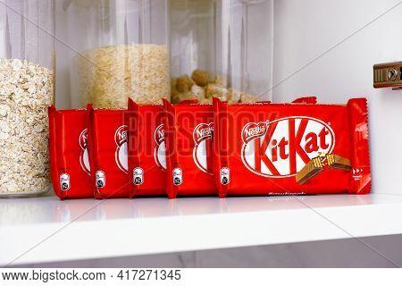 Tambov, Russian Federation - March 19, 2021 Kitkat Chocolate Bars On Shelf Of Kitchen Cupboard