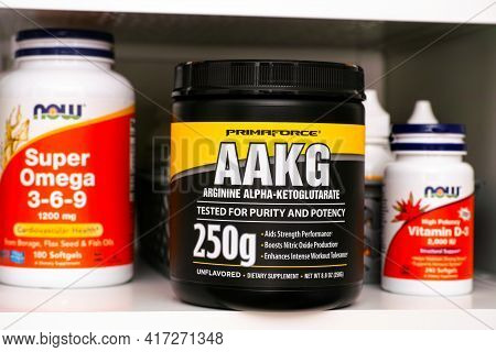 Tambov, Russian Federation - March 19, 2021 Jar Of Aakg By Primaforce On Shelf In The Kitchen Cupboa