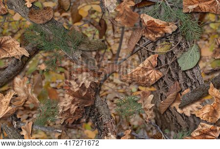 Realistic Camouflage Seamless Pattern. Hunting Camo For Cloth, Weapons Or Vechicles.