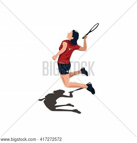 Women Badminton Player Jumping At Court - Women Are Playing Badminton Attack With Smashing Shuttleco