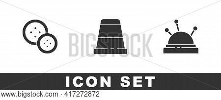 Set Sewing Button, Thimble For Sewing And Needle Bed And Needles Icon. Vector