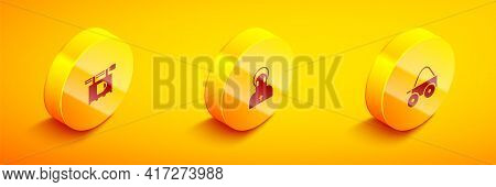 Set Isometric Street Signboard With Bar, Monk And Wooden Four-wheel Cart Icon. Vector