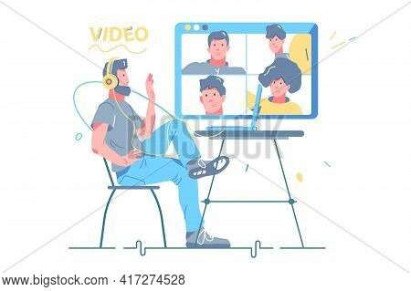 Man Talking With Friends Via Video Call Vector Illustration. Group Call On Screen Flat Style. Remote