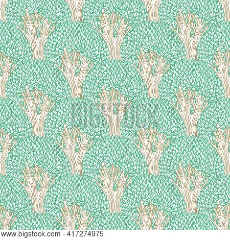 Vector Seamless Pattern With Colored Contour Drawings Of Deciduous Trees. Decorative Repeating Backg