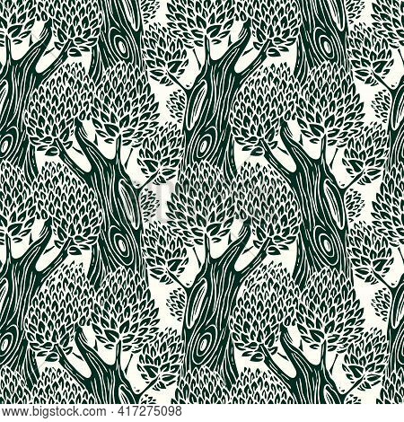 Vector Seamless Pattern With Old Deciduous Trees. Stylized Trees With Hollows On Thick Trunks And De