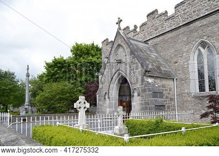 ADARE, IRELAND - MAY 17, 2011:  Holy Trinity Abbey Church. The Abbey has a long history in the region dating to the early 1200's.