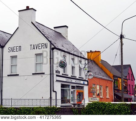 SNEEM, IRELAND - 16 MAY 2011: Sneem Tavern, The Window Box and Rineys Bar are popular stops in Ireland.