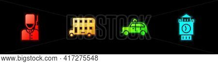 Set British Soldier, Double Decker Bus, Taxi Car And Big Ben Tower Icon. Vector
