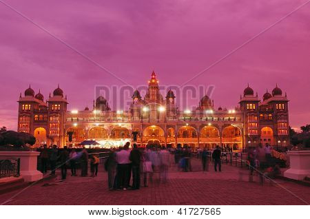 Mysore palace at full lights during Dussera Festival