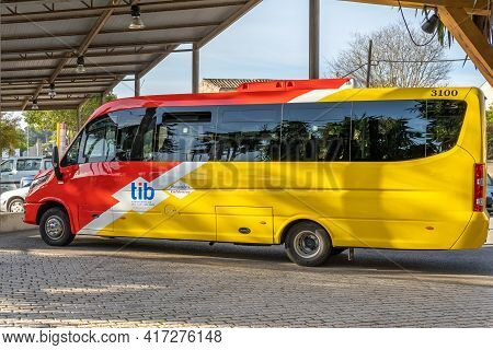 Sineu, Spain; April 14 2021: Bus Of Line Of The Island Of Majorca That Unites The Towns With The Cap