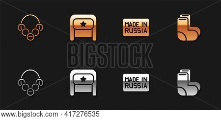 Set Russian Bagels, Ushanka, Made In And Valenki Icon. Vector