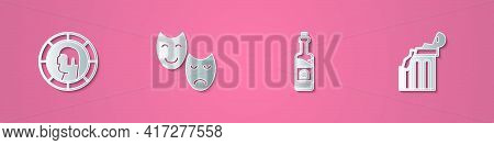 Set Paper Cut Ancient Greek Coin, Comedy And Tragedy Masks, Bottle Of Wine And Broken Ancient Column
