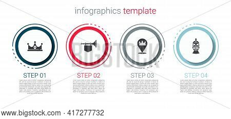 Set King Crown, Trumpet With Flag, Location King And Medieval Iron Helmet. Business Infographic Temp
