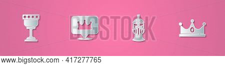 Set Paper Cut Medieval Goblet, Location King Crown, Iron Helmet And King Icon. Paper Art Style. Vect