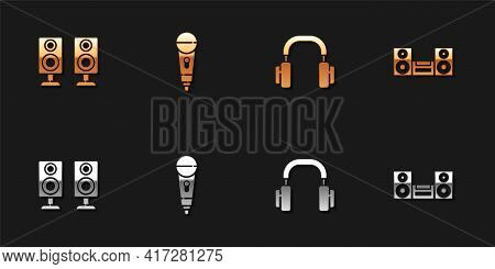Set Stereo Speaker, Microphone, Headphones And Home Stereo Icon. Vector