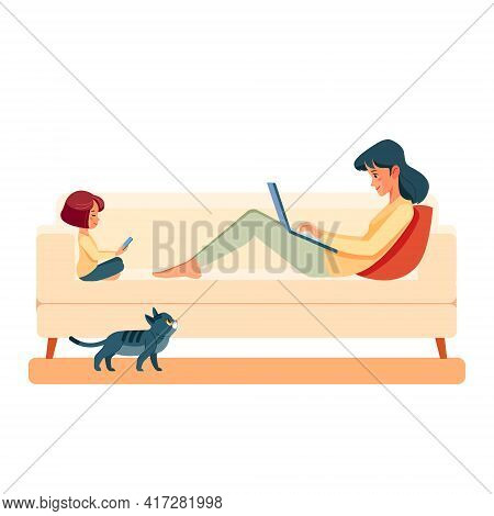 Working At Home. Family Mother And Child Daughter At Home With Laptop On The Sofa. People At Home Wo
