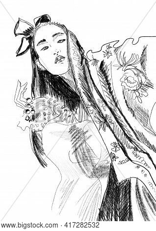 Hand-drawn Fashion Illustration Of Imaginary Asian Beautiful Model, With An Accessories, In A Printe