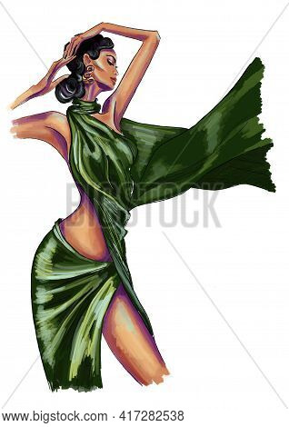 Hand-drawn Fashion Illustration Abstract Sketch Of Imaginary Posing Glamour Model In A Green Silk Dr