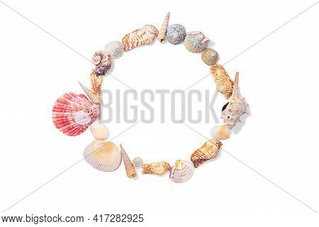 Round Frame From Seashells, Molluscs And Seashells On White Isolated Background. Sea Background. Cop