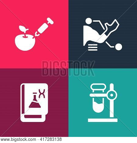 Set Pop Art Test Tube Flask On Stand, Genetic Engineering Book, Prosthesis Hand And Genetically Modi