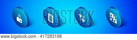 Set Isometric Laboratory Assistant, Cloning, Periodic Table And Clinical Record Icon. Vector