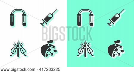 Set Biological Structure, Test Tube And Flask, Experimental Insect And Syringe Icon. Vector