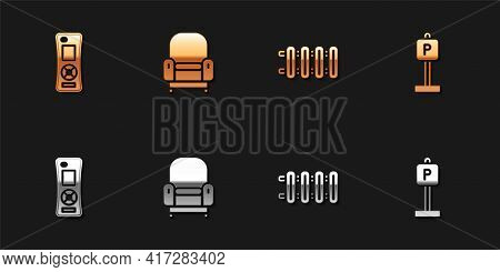 Set Remote Control, Armchair, Heating Radiator And Parking Icon. Vector