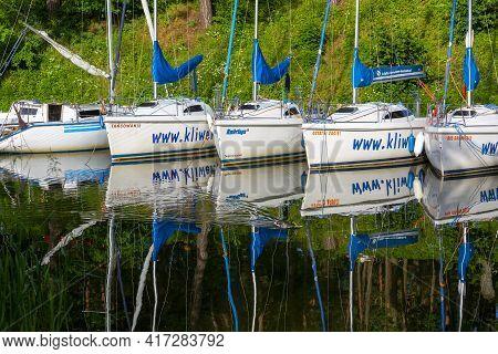 Masuria, Ruciane-nida, Poland - June 24, 2020: Yacht Marina On The Masurian Lakes, Yachts Moored At
