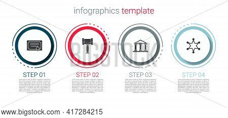Set Certificate Template, Judge Gavel, Courthouse Building And Hexagram Sheriff. Business Infographi