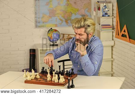 Intellectual Hobby. School Teacher. Board Game. Playing Chess. Development Logics. Chess Is Life In