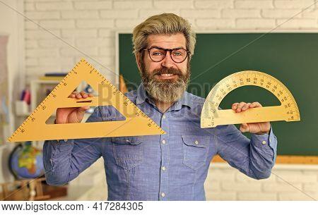 Stem Education Concept. Study Algebra At University. Back To School. Teacher Of Arithmetic. Calculat