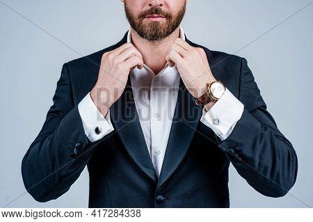 Pranking Himself Out In Best Attire. Man Wear Formal Suit Cropped View. Business Attire. Formalwear