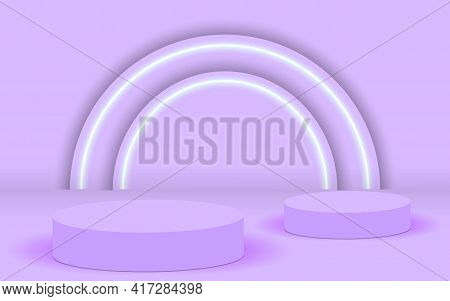 Background Vector 3d Pink Rendering With Podium And Minimal Pink Wall Scene, Minimal Abstract Backgr