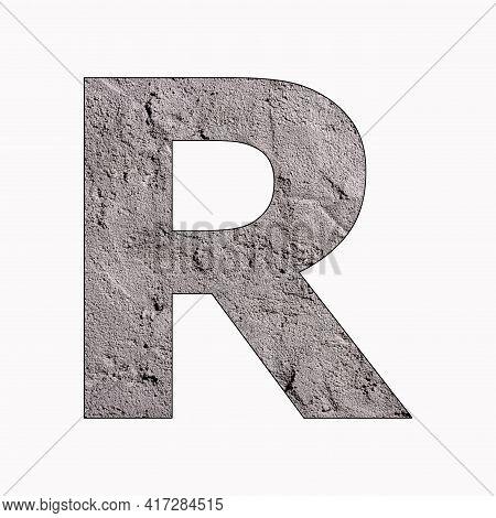 Alphabet Letter R On Gray Stucco Texture
